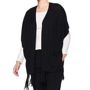 NYDJ Women's Sweater Wrap with Fringe size L/XL